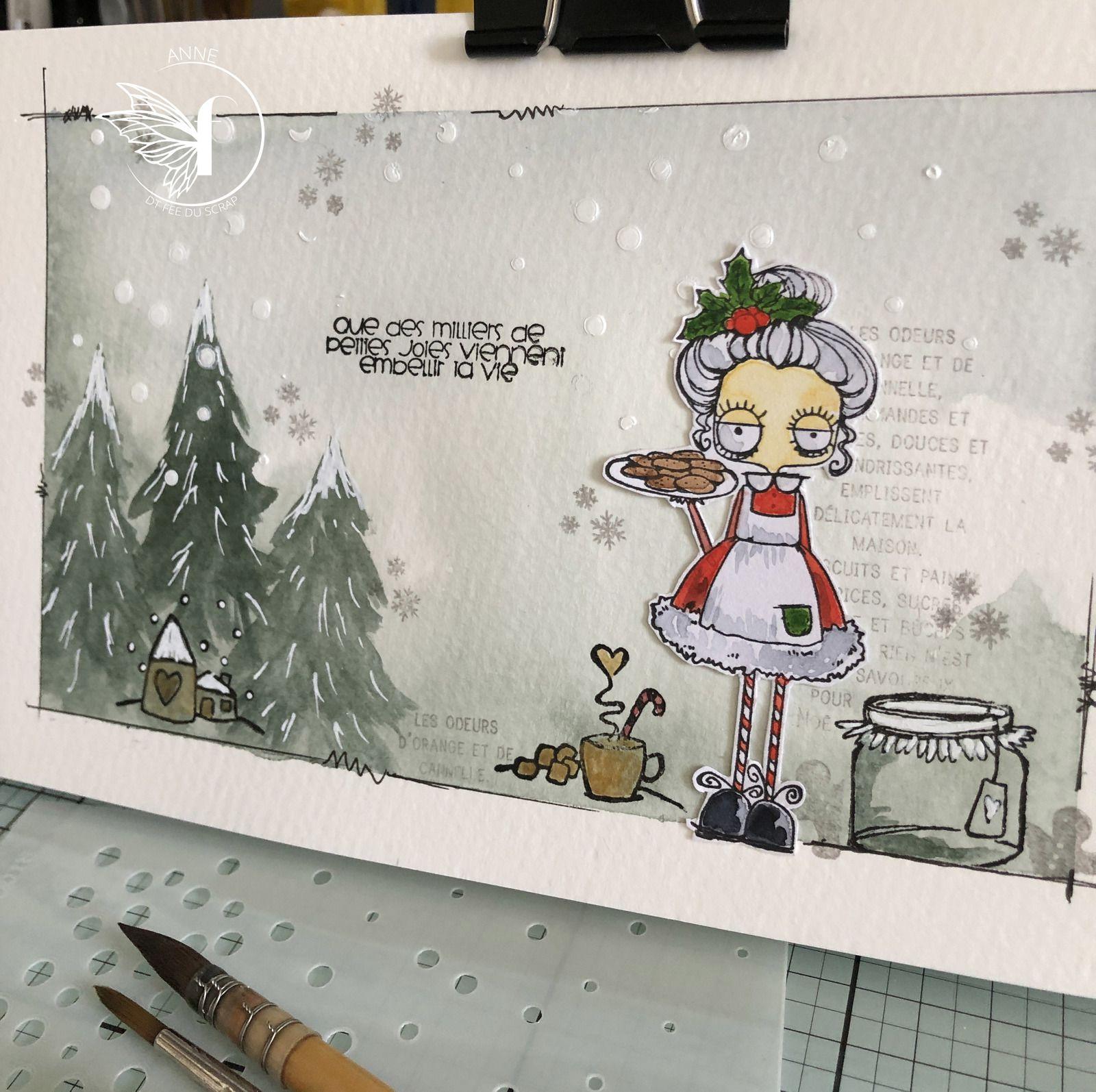 """( cette fois , c'est le pochoir """"neige"""" utilisé avec de la pâte texture blanche...)"""