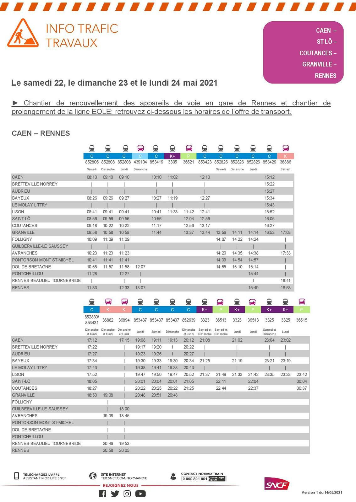 Caen <> Rennes :  circulations les 22; 23 et 24 mai. Version du 14 mai 2021