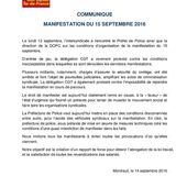 A propos des conditions de la manifestation de ce 15 septembre - Front Syndical de Classe