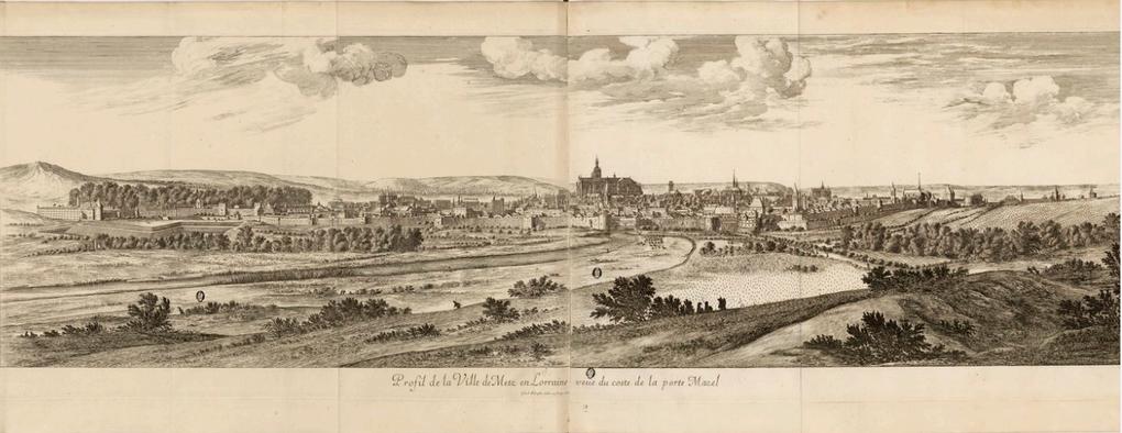 Plan de Casper Mérian, gravé en 1655. Profil de la ville de Metz en Lorraine veue du coste de la porte Mazel, Israël Silvestre. Plan peint sur toile, milieu du XVIIe siècle, (152,5 x 194,5 cm), musée de la Cour d'Or, Metz .