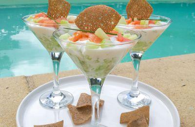 Verrine fraîcheur au saumon et concombre