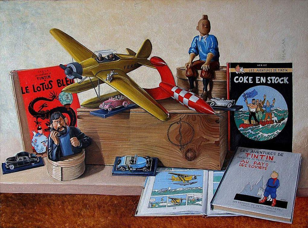 Diverses natures mortes autour de l'univers de Tintin Huile sur toile Bhavsar