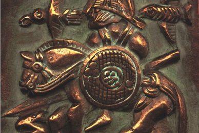Plaque de bronze à relief d'Odin cavalier