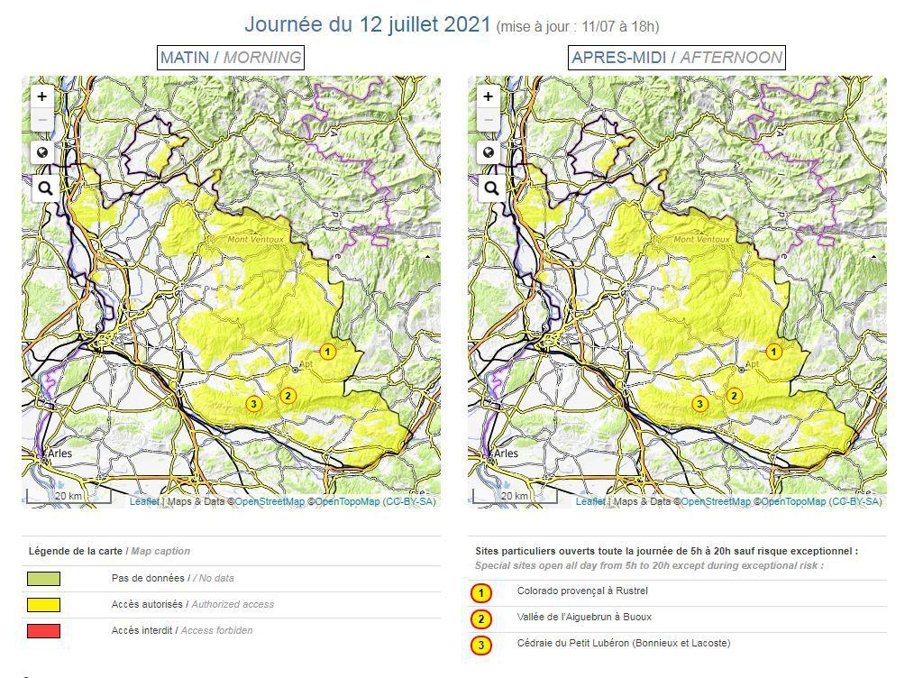 Carte risque incendie en Vaucluse. Journée du lundi 12 juillet 2021