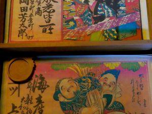 Vieilles affiches publicitaire de l'ère Edo, ventilateur, palanquin de mariée, lampe retros
