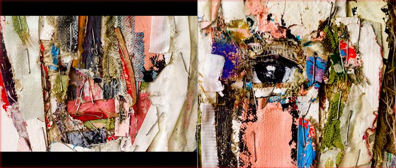 """""""...Je déchire d'anciennestoiles peintes. Des morceaux, des lambeaux, des éclats... Je superpose, raboute, agrafe. Ici des visages. Effractions de visages...""""."""