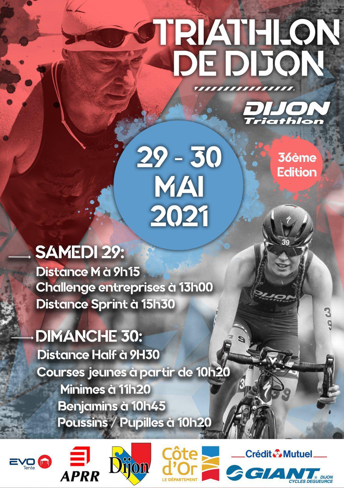 TRIATHLON DE DIJON 29 et 30 MAI 2021 36eme Edition
