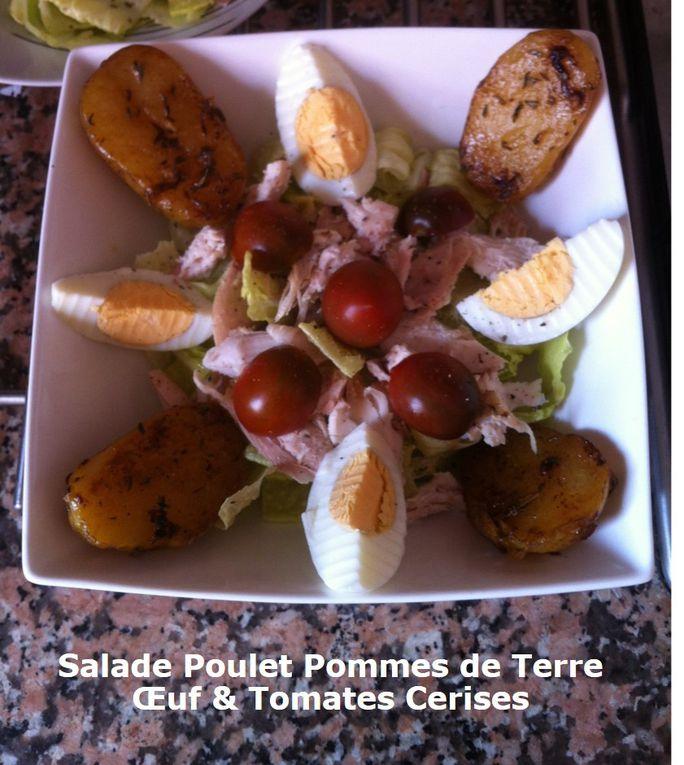 Salade Poulet Pommes de Terre Oeuf et Tomates Cerises