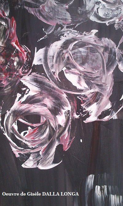 """Détail (257)  de l'oeuvre  """" Le bouquet de roses """" 242 C Acrylique 2015"""