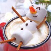Chocolat chaud - Bonhomme de neige guimauve - Mes Meilleures Recettes Faciles