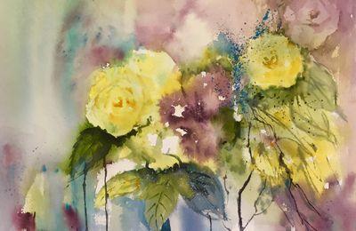 Bouquet de Roses semi abstrait