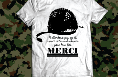 T-shirt France: Victime du devoir - Merci Soldat 1.