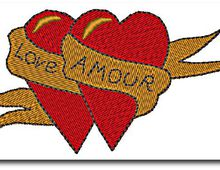 """ Love amour "", en broderie machine 10 cm x 5,2 cm."