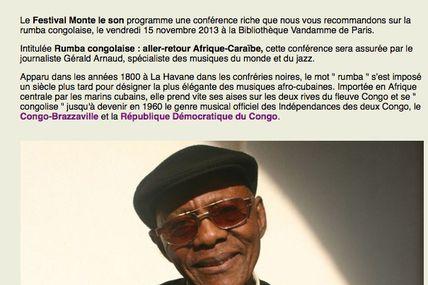 15 novembre Paris 19H30 - Conférence sur la Rumba congolaise