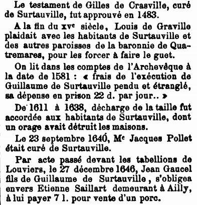 L'article concernant Surtauville dans le tome II du Dictionnaire historique de toutes les communes de l'Eure, de MM. Charpillon et Caresme, édité en 1879. Cliquez sur la diapositive car il y a quatre vues en tout.