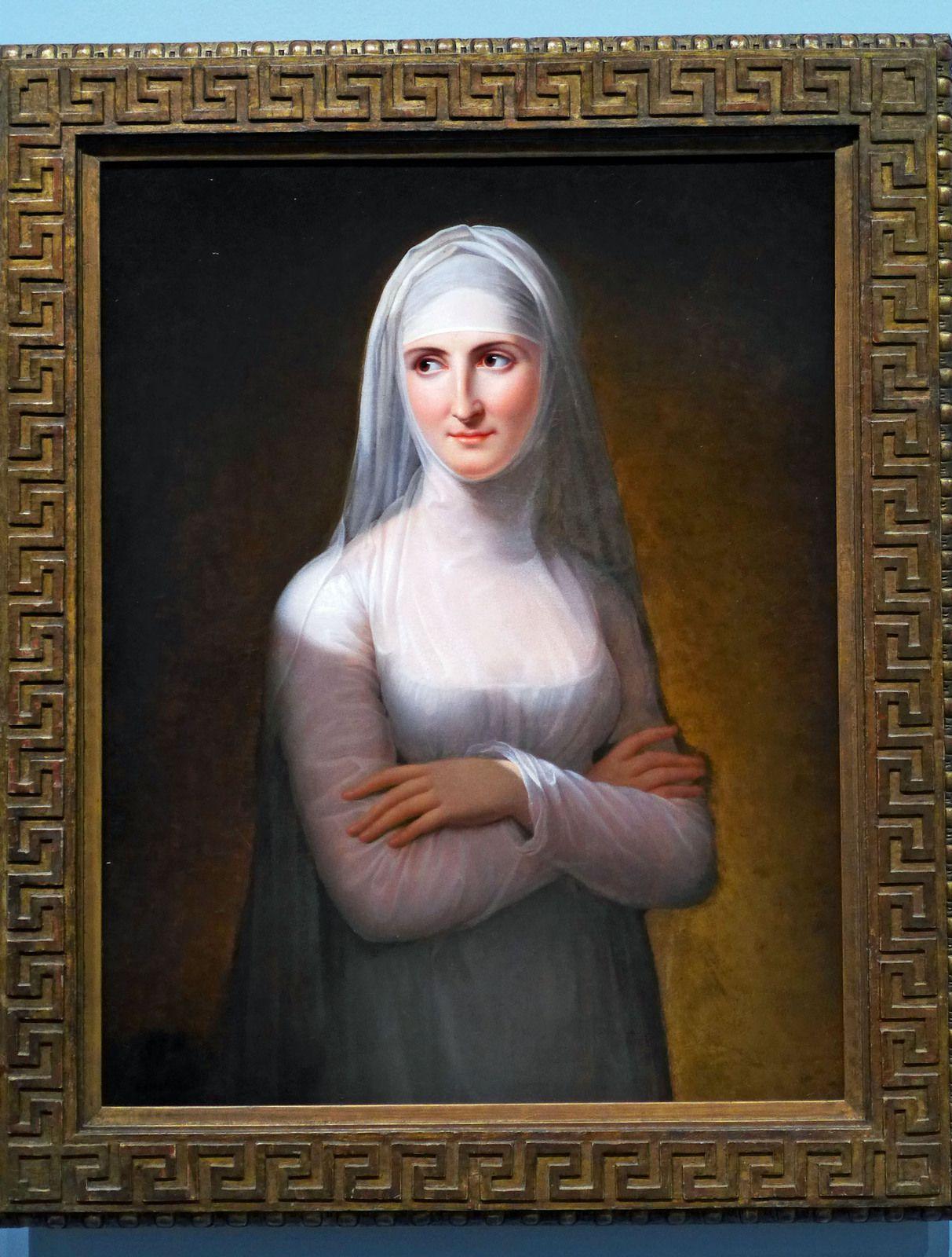 Jeanne-Elisabeth CHAUDET (1761-1832), portrait d'une dame en novice (1811), huile sur toile. France, Paris, galerie Michel-Descours.