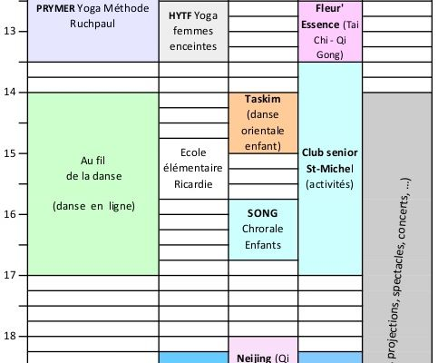 Activités dans la Salle St Michel