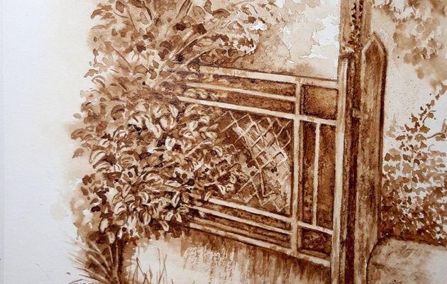 Démonstration de peinture au café à l'exposition de Saint Sulpice