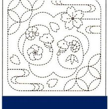 Sampler # 1018 in white and # 2018 in navy. A fun sampler that could be stitched in different colored threads for added decoration. Sashiko pre-printed samplers have wash-out stitching lines. Do not p