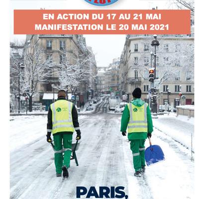 Paris c'est du travail. Et le travail ça se partage ! Pas une minute de plus ! En action du 17 au 21 mai, en manifestation le 20 mai !