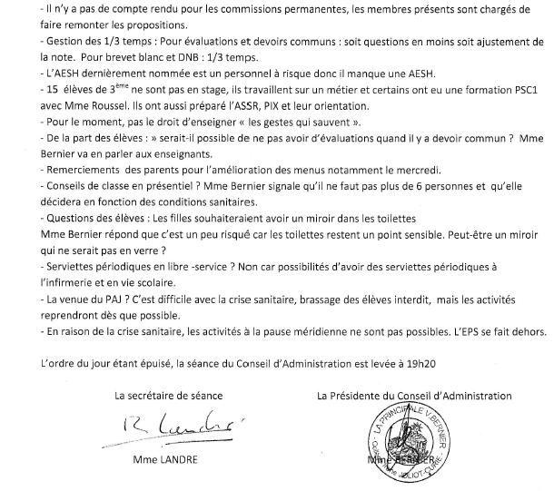 Compte-rendu du conseil d'administration du 11 février 2021