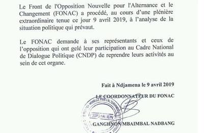 Tchad: le FONAC invite l'opposition à reprendre au sein du CNDP
