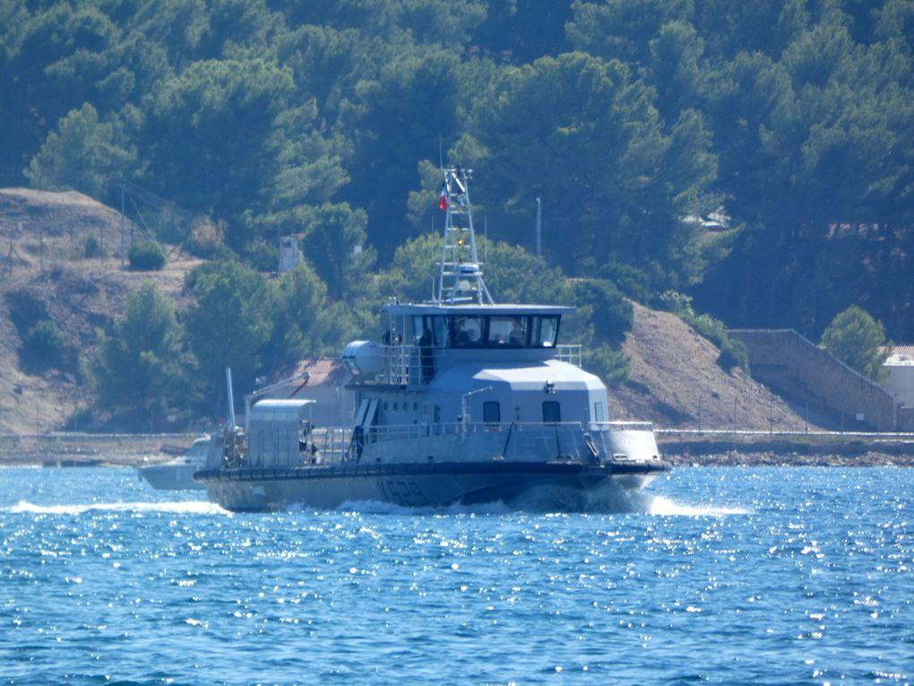 TIANEE  , Y 629 Chaland Multi Missions (CMM) en petite rade de Toulon le 03 septembre 2020