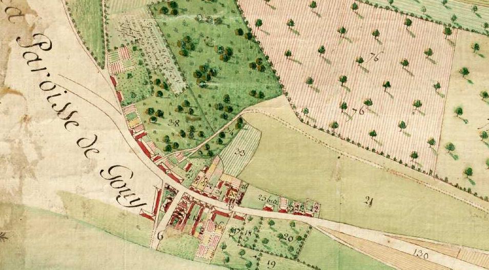Détails du plan terrier de la fin du XVIIIe siècle conservé aux Archives de Seine-Maritime (cote 12Fi77) et accessible en ligne. Il s'agit de la ferme du Bosc et de Port-Saint-Ouen.