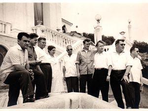 Un algrangeois Emilien MARTIN avec le délégué mineur, Albert BALDUCCI, en voyage d'Algrange en U.R.S.S., en 1959