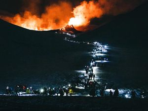 A busy eruption site day and night - photos by Gunnar Freyr Gunnarsson and Andrei Menshenin - one click to enlarge
