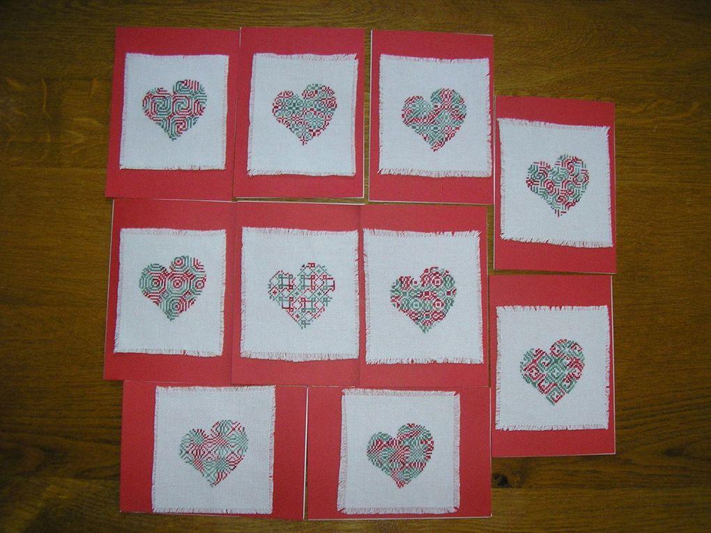 Des petits coeurs pour des cartes d'après CPP