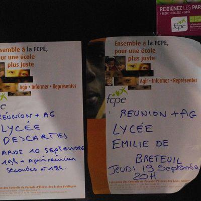 Rentrée 2013 de la FCPE collèges et lycées de Montigny-le-Bretonneux: dates de réunion