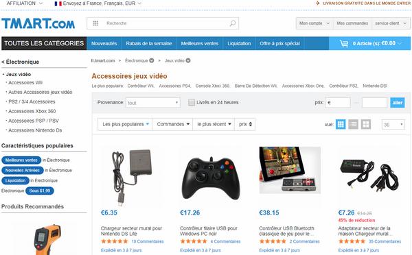 captures d'écran du site de vente en ligne T-Mart (version française) - crédit images : T-Mart