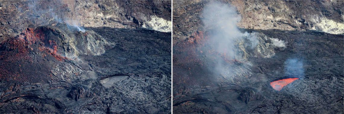 Kilauea / Halema'uma'u - the active lava surface is limoted to a small pond near the eastern fissure, mostly covered by a stationary crust; lava abruptly resurfaces with bubbles (right image) for a few minutes - photos M.Patrick - USGS 05.2021 - a click to enlarge