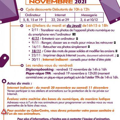 Programme novembre Cybercentre
