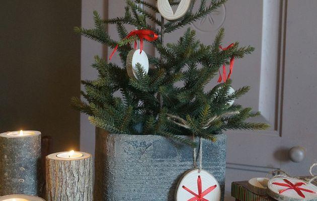 Rondelles de bois brut : déco de Noël