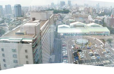 Panorama de la vue de notre chambre d'hotel à Tokyo