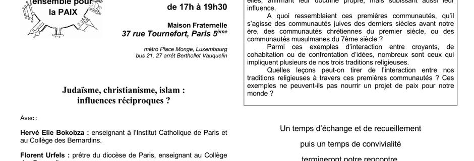 SERIC 2019 - 24 novembre 2019 - 75005 PARIS - Judaïsme, christianisme, islam : influences réciproques ?