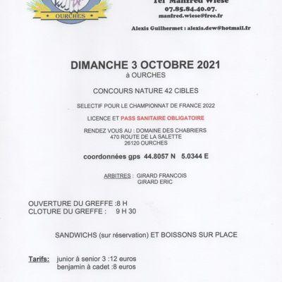 mandat concours officiel nature Ourches le 3 octobre 2021