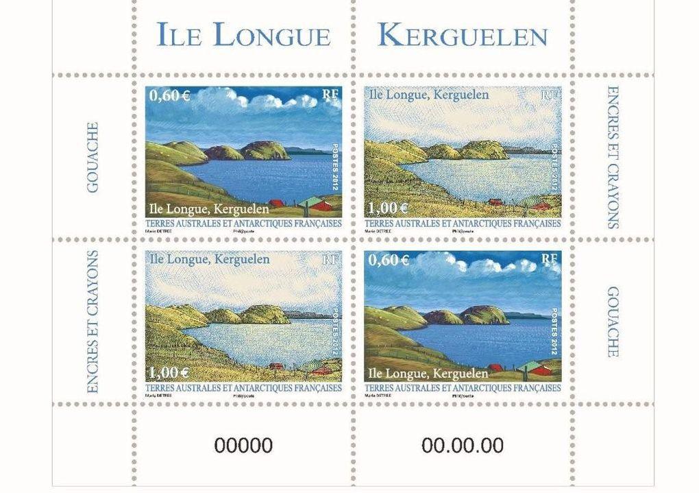 Photo de Marie Détrée et ses timbres pour les TAAF: L'ile Longue en 2012, le croisuer Colbert en 2019, le marquage des langoustes en 2020.