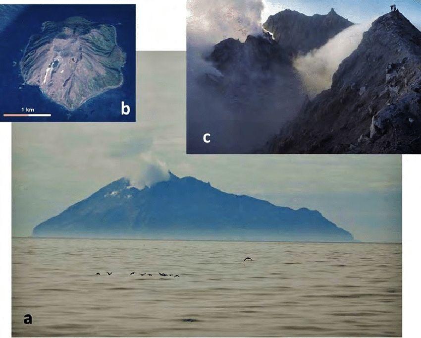 (a) L'île de Chirinkotan en juillet 2016 (Photo Y. Taran) et (b) son image de carte Google. Vue à l'intérieur du cratère du Chirinkotan en août 2015. Photo O. Chaplygin. - via Reseach gate