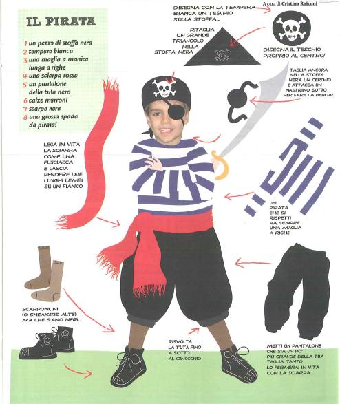 Carnevale:cartone riciclo e cartacrespa abito, gonna da fiore e carta cucita - pirata