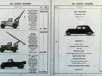 """Des modèles réduits à la bonne échelle... s'articulant et se déployant  - des reproductions de belle taille, des C4 cabriolet ou torpédo hélas à prix élevé ... - Au catalogue 1933 des Rosalies de grande taille (de 40 à 50 cm) et de petite taille (10cm)  - et, dans les pages à droite, ces camionnettes grue, échelle, et benne invitent à la manipulationet, en plus, on y découve la toute nouvelle """"Traction"""" pour vivre avec de grandes aventures routières..."""