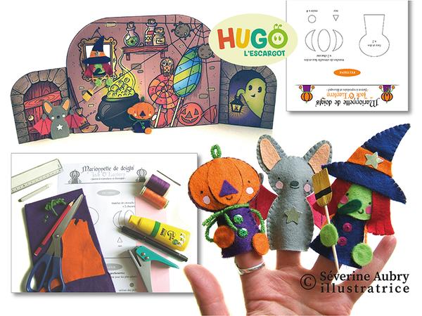 FICHES DIY - Marionnettes de doigts d'Halloween et de Noël et leur décor de théâtre - Hugo l'escargot - 2016 - Conception et réalisation
