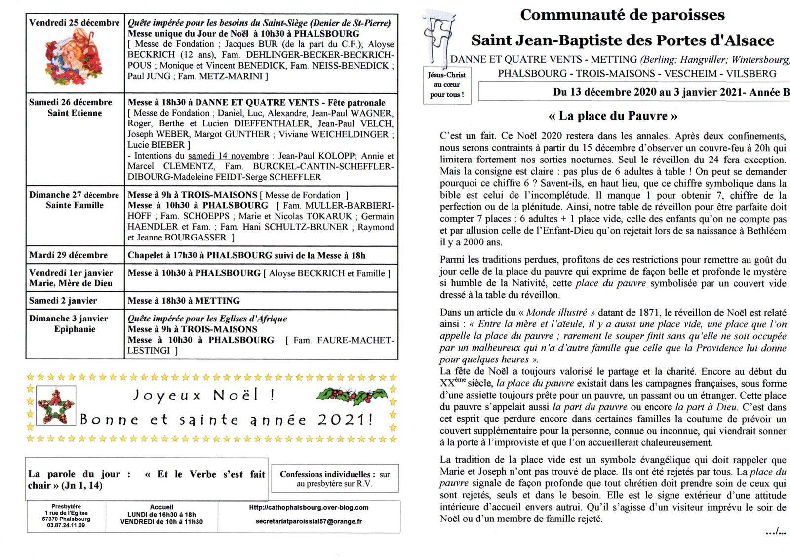 Bulletin paroissial du 13 décembre 2020 au 3 janvier 2021