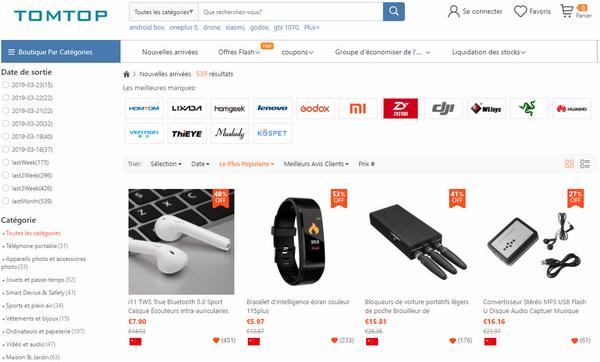captures d'écran du site de vente en ligne TomTop (version française) - crédit images : TomTop