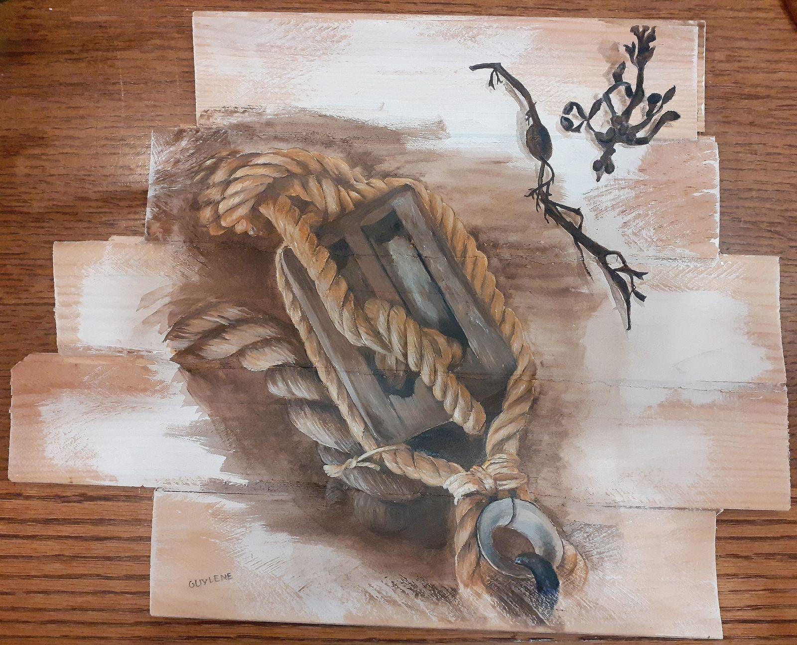 Quelques traces de souvenirs : le cadenas de ma cabane, sur le pont d'un bateau, la vieille porte rose, le lierre... Peinture sur sur supports de planches de bois en chêne