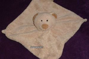 doudou ours plat beige nicotoy boby collection