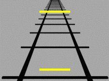 Illusion de Ponzo, lignes parallèles identiques