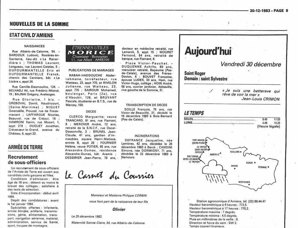Amiens. Autoportrait d'automne. 22 Sept. 2021. Courrier Picard. 30 Déc. 1983. © Jean-Louis Crimon